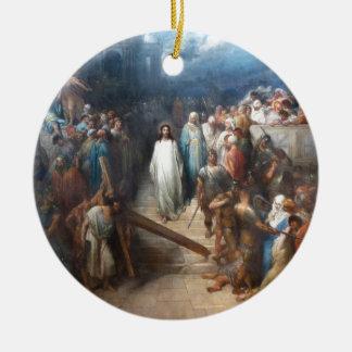 Christ Leaving Praetorium Round Ceramic Decoration