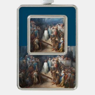 Christ Leaving Praetorium Silver Plated Framed Ornament