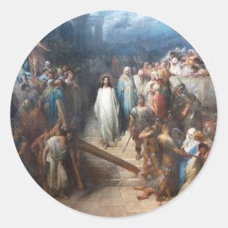 Christ Leaving the Praetorium Classic Round Sticker