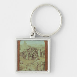 Christ on the Road to Calvary Silver-Colored Square Key Ring