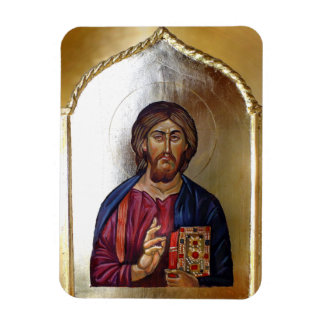 Christ Pantocrator - Byzantine Style Icon Rectangular Photo Magnet