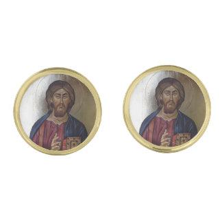 Christ Pantocrator Gold Finish Cufflinks