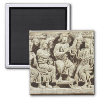 Christ seated and teaching surrounded by the Apost Square Magnet