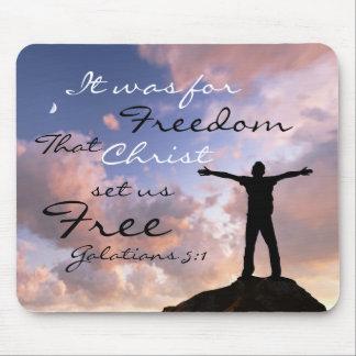 Christ Set Us Free Bible Verse Mousepad