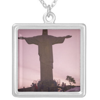 Christ Statue at Corcovado, near outskirts of Square Pendant Necklace