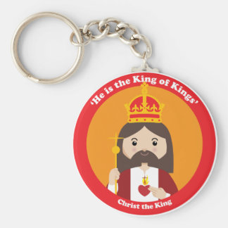 Christ the King Basic Round Button Key Ring