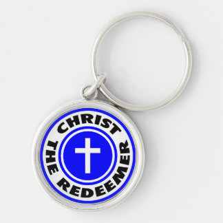 Christ the Redeemer Silver-Colored Round Key Ring