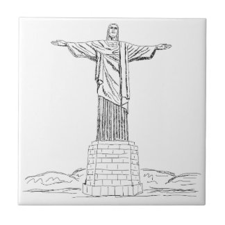 christ the redeemer small square tile