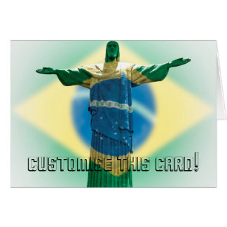 Christ the Redeemer wrapped in the Brazilian flag Card