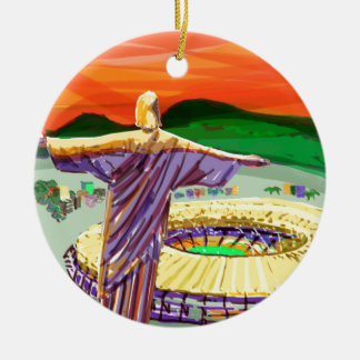 Christ The Redemer and Maracanã Stadium - Rio - Br Ceramic Ornament