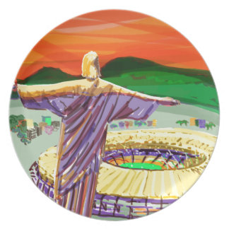 Christ The Redemer and Maracanã Stadium - Rio - Br Plate