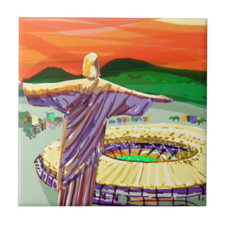 Christ The Redemer and Maracanã Stadium - Rio - Br Small Square Tile