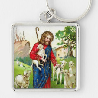 Christ The Shepherd Silver-Colored Square Key Ring
