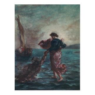 Christ walking on water postcard