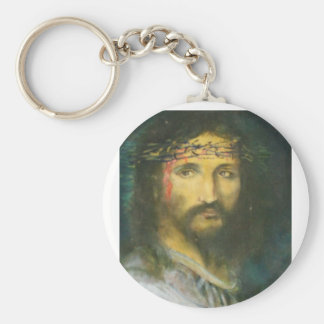 Christ with crown of thorns basic round button key ring