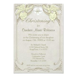 Christening | Angel Monogram 13 Cm X 18 Cm Invitation Card