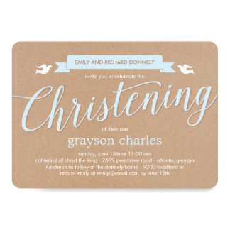 Christening Banner Baptism Invitation - Blue