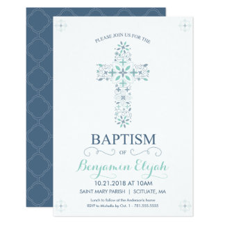 Christening, Baptism Invitation - Baby Boy Invite