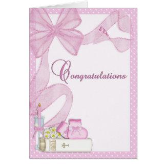 Christening Baptism Pink Congratulations Note Card