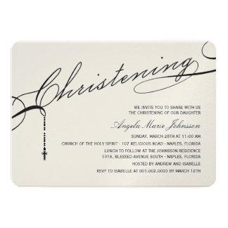 Christening Black Script Modern Cross Baby Photo 5x7 Paper Invitation Card