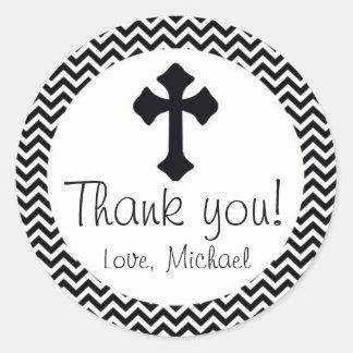 Christening Black White Chevron Thank You Sticker