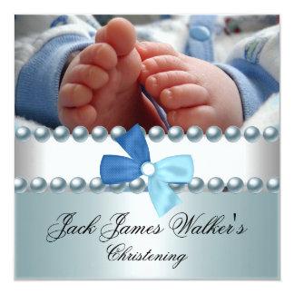 Christening Boy White Blue Pearl Bow Photo 13 Cm X 13 Cm Square Invitation Card