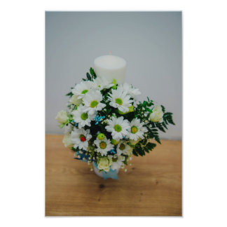 Christening candle with white flowers photo
