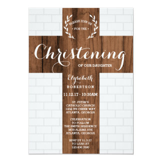 Christening Invitation, Cross, Baptism Dedication Card