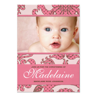 "Christening Invitation for Baby Girl 5"" X 7"" Invitation Card"
