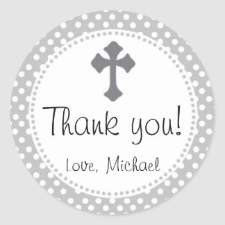 Christening Polka Round Thank You Party Sticker