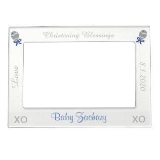 Christening Silver Blue Rattles Boy Frame