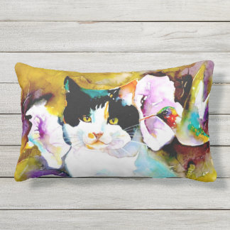 """Christeve the Cat with Hummingbird"" Print Outdoor Cushion"