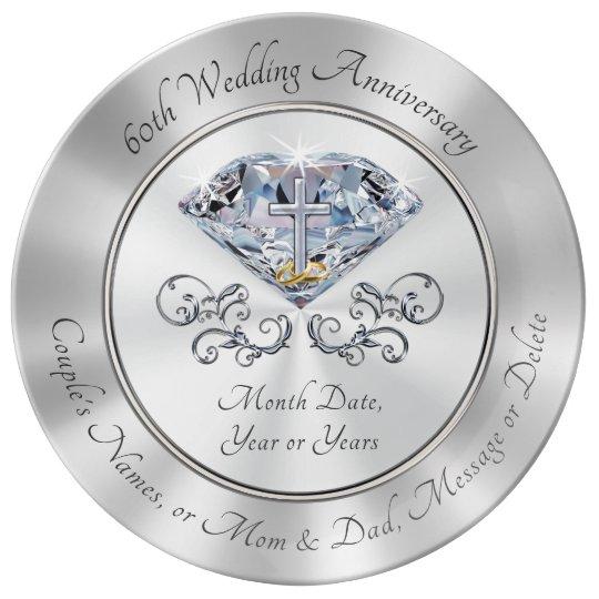 60Th Anniversary Gifts >> Christian 60th Anniversary Gifts Diamond Cross Plate Zazzle Com Au