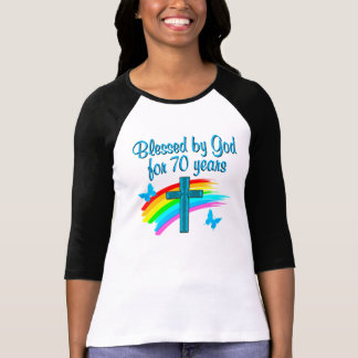 CHRISTIAN 70TH BIRTHDAY CROSS AND RAINBOWS T-Shirt