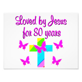 CHRISTIAN 80TH BIRTHDAY CROSS DESIGN ART PHOTO
