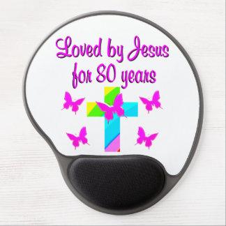 CHRISTIAN 80TH BIRTHDAY CROSS DESIGN GEL MOUSE PAD