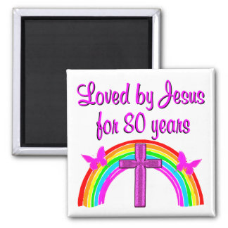CHRISTIAN 80TH BIRTHDAY RAINBOW DESIGN MAGNET