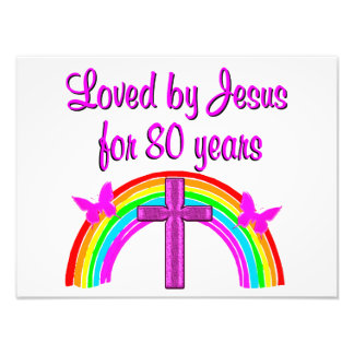 CHRISTIAN 80TH BIRTHDAY RAINBOW DESIGN PHOTOGRAPH