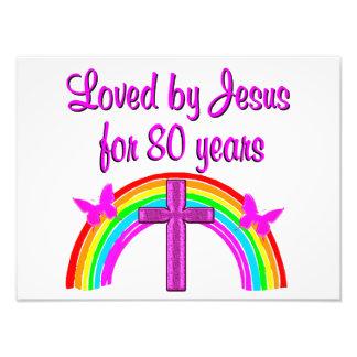 CHRISTIAN 80TH BIRTHDAY RAINBOW DESIGN PHOTOGRAPH