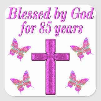 CHRISTIAN 85TH BIRTHDAY PINK CROSS DESIGN SQUARE STICKER
