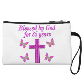 CHRISTIAN 85TH BIRTHDAY PINK CROSS DESIGN WRISTLET CLUTCH