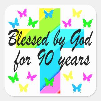 CHRISTIAN 90TH BIRTHDAY PRAYER DESIGN SQUARE STICKER