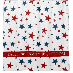Christian America Patriotic Red White Blue Stars Shower Curtain