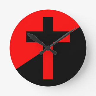 Christian Anarchist Anarchy Christianity Flag Round Clock