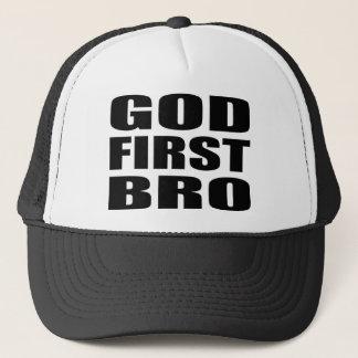 Christian Apparel GOD FIRST BRO Trucker Hat