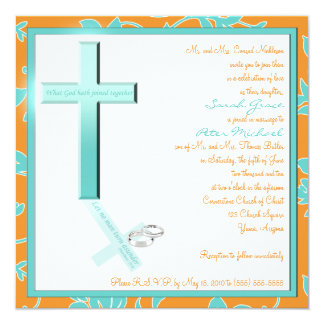 Christian Aqua Tangerine Square Wedding Invitation