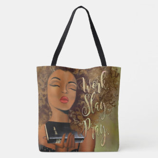 Christian Art Work Slay Pray Cross Body Tote Bag