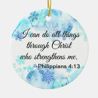 Christian Bible I Can Do All Things Quote Blue Ceramic Ornament