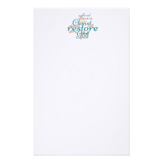 Christian Bible Verse CHRIST WILL RESTORE YOU Stationery