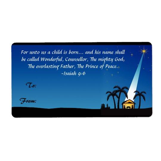 Christian Bible Verse Christmas Gift Tag Label